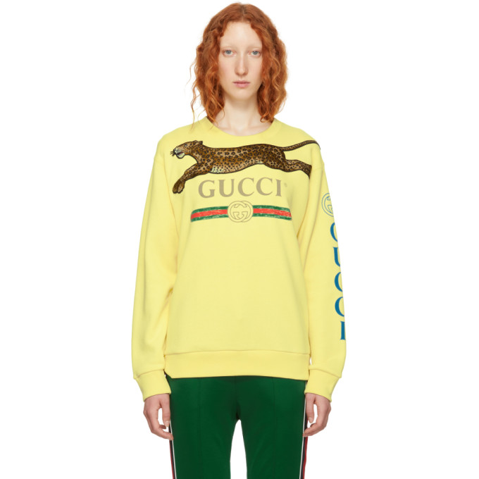 GUCCI | Gucci Yellow Embroidered Leopard Logo Sweater | Clouty