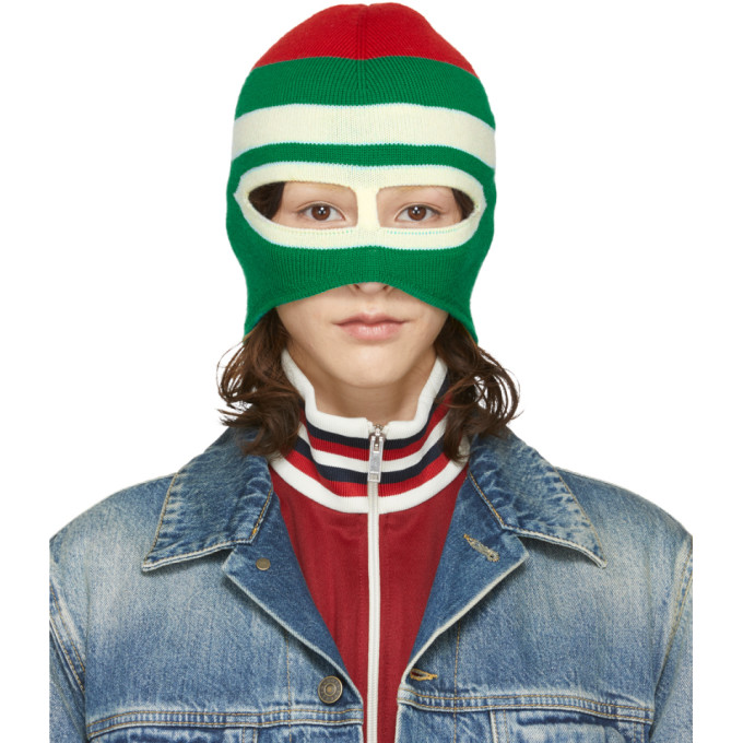GUCCI | Gucci Green and Red Wool Balaclava | Clouty