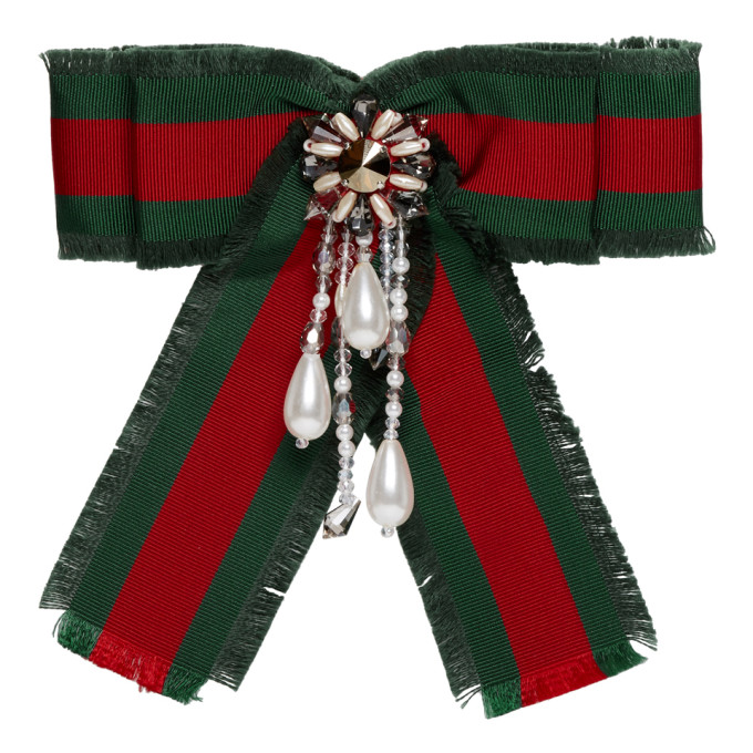 GUCCI | Gucci Red and Green Striped Ribbon Brooch | Clouty