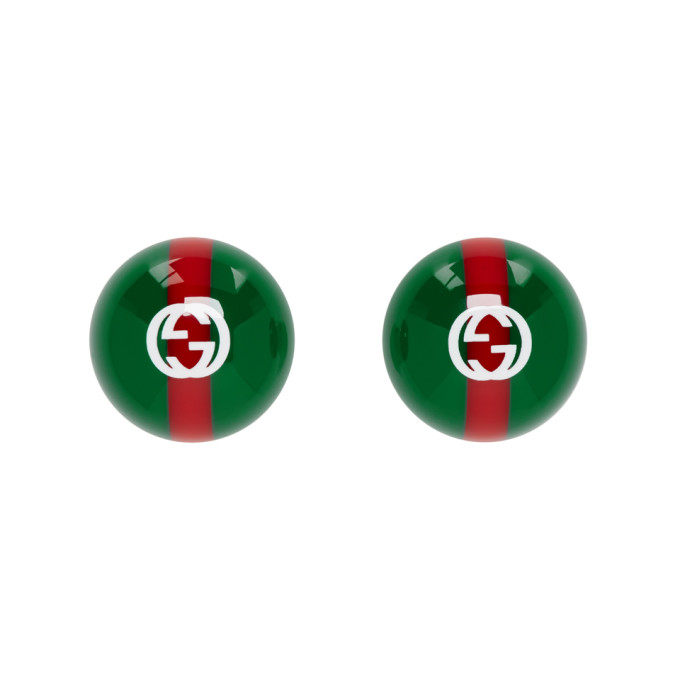 GUCCI | Gucci Green and Red Vintage Web Earrings | Clouty