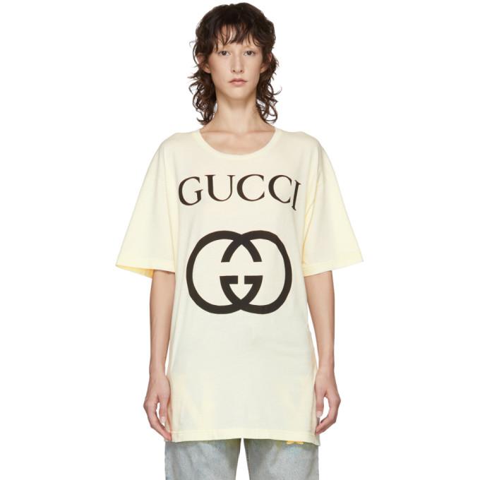 GUCCI   Gucci White GG Logo T-Shirt   Clouty