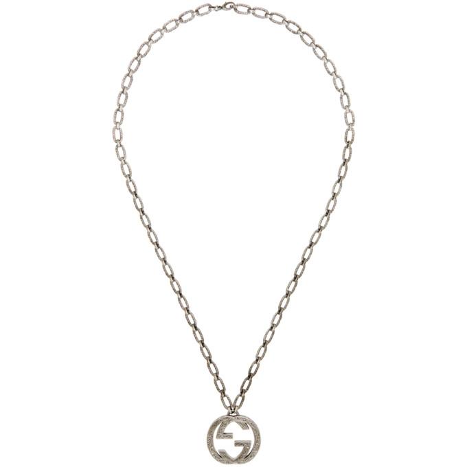 GUCCI | Gucci Silver Interlocking GG Necklace | Clouty