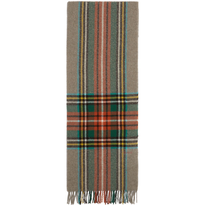 GUCCI | Gucci Multicolor Check Wool Scarf | Clouty