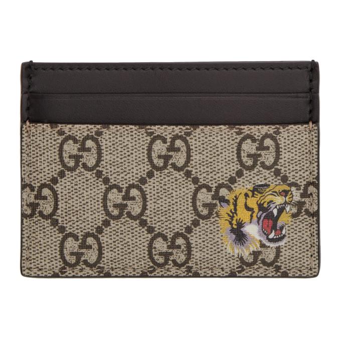 GUCCI | Gucci Beige GG Supreme Tiger Card Holder | Clouty