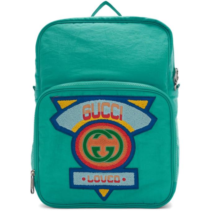GUCCI | Gucci Blue Medium 80s Logo Patch Backpack | Clouty