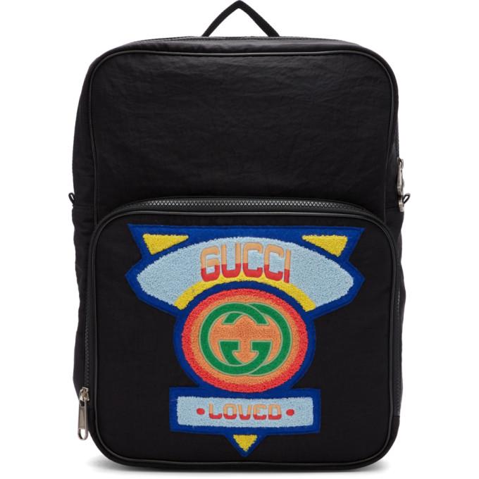 GUCCI | Gucci Black Medium 80s Patch Backpack | Clouty