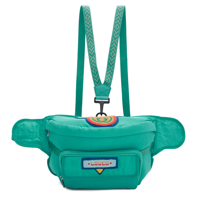 GUCCI | Gucci Blue 80s Logo Patch Belt Bag | Clouty