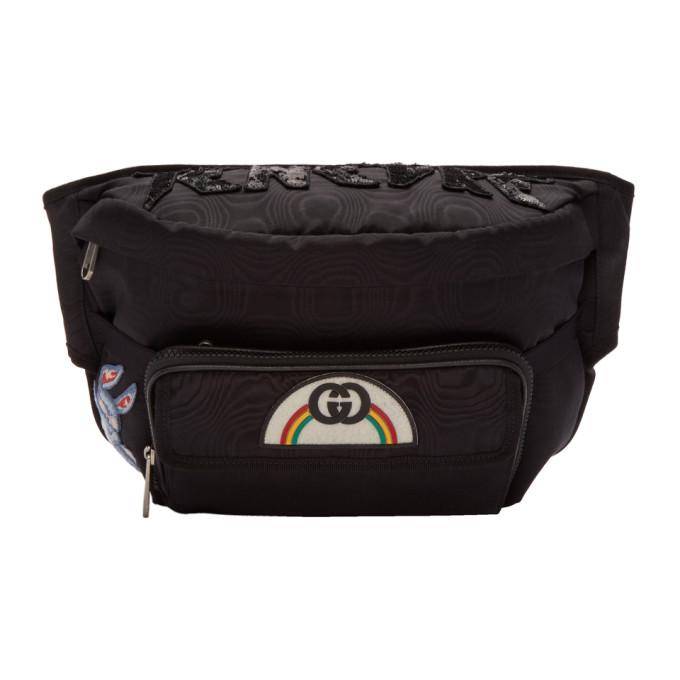 GUCCI | Gucci Black Tenebre Logo Patch Belt Bag | Clouty
