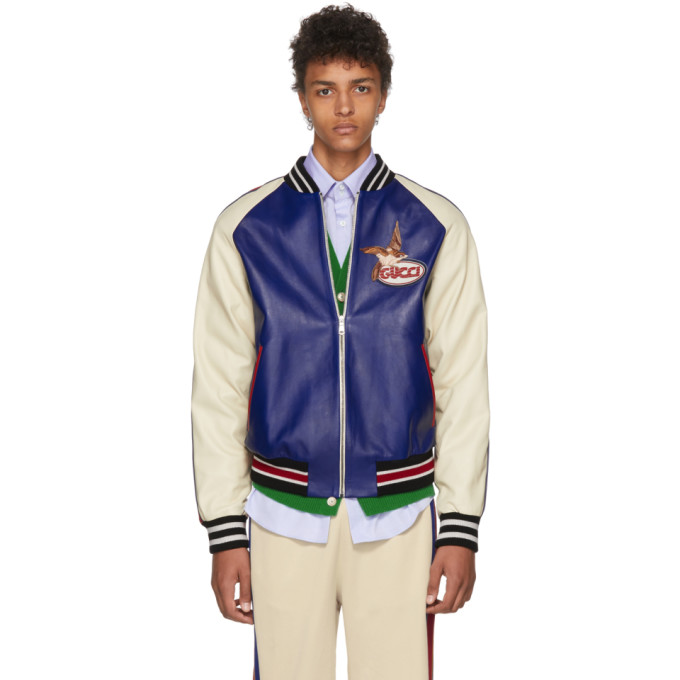 GUCCI | Gucci Blue and Beige Leather Bomber Jacket | Clouty