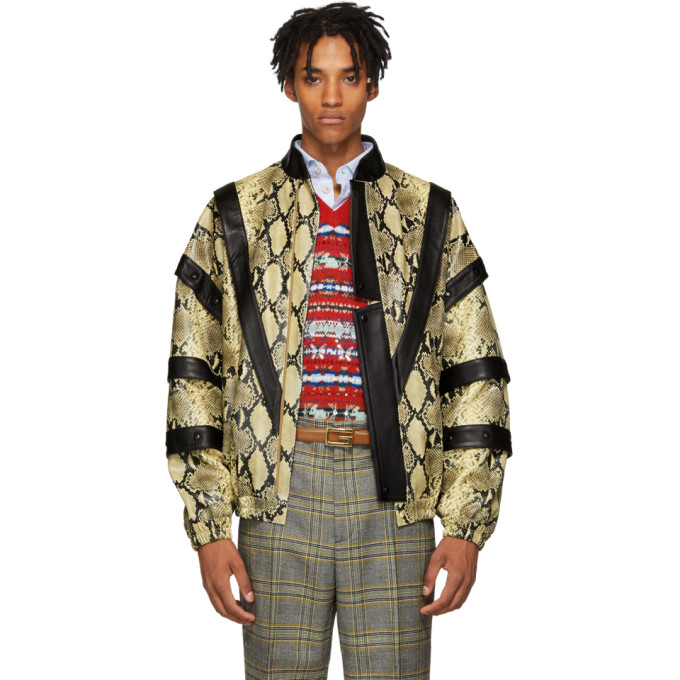 GUCCI | Gucci Yellow and Black Faux-Python Bomber Jacket | Clouty