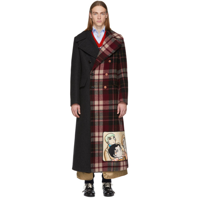GUCCI | Gucci Grey and Red Wool Madras Coat | Clouty