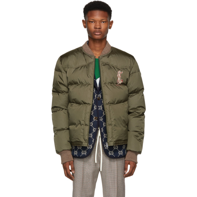 GUCCI | Gucci Green Embroidered Down Jacket | Clouty