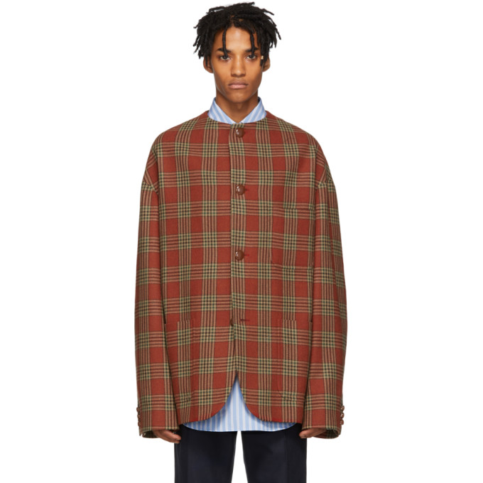 GUCCI | Gucci Red Check Wool Jacket | Clouty