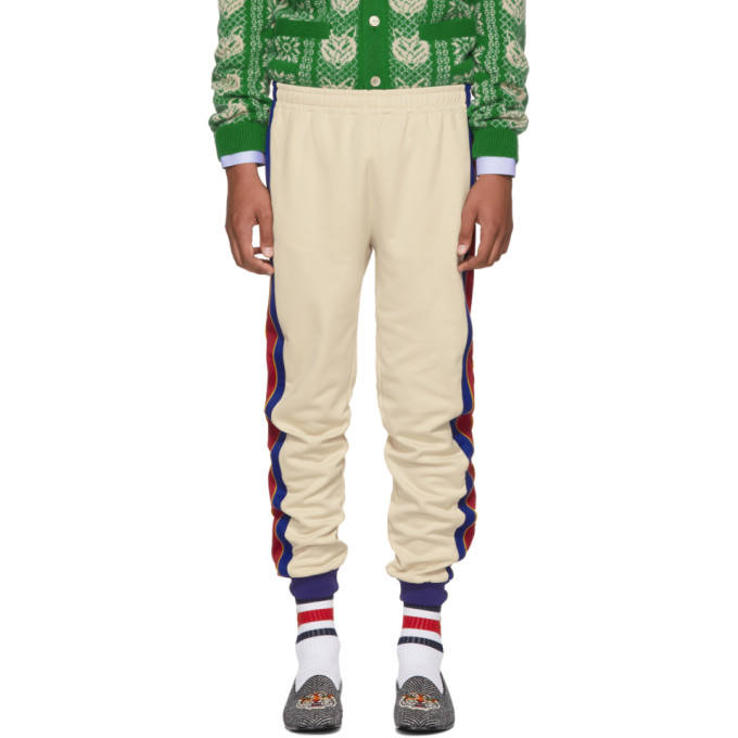 GUCCI | Gucci Beige and Blue Striped Lounge Pants | Clouty