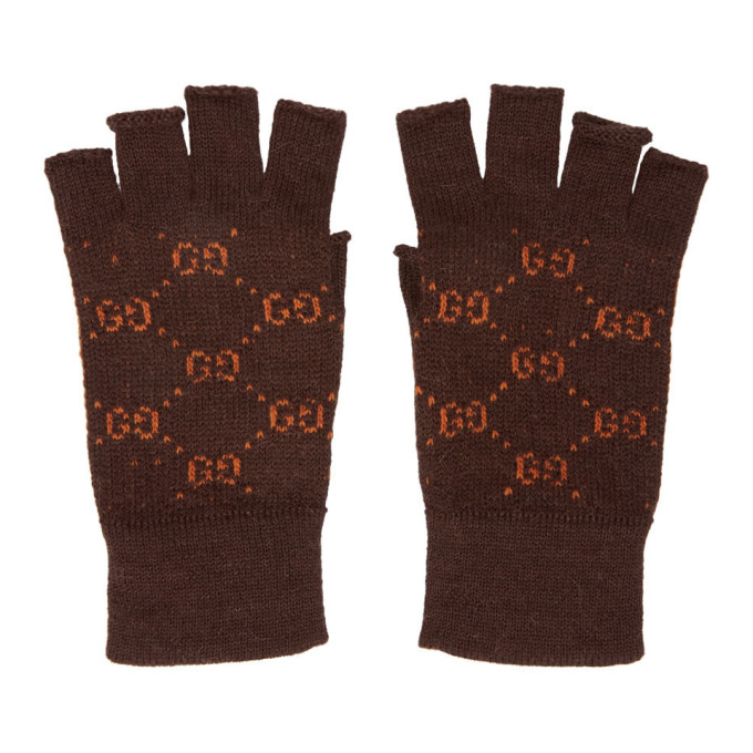 GUCCI | Gucci Brown and Orange GG Supreme Fingerless Gloves | Clouty