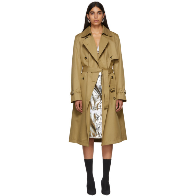 Paco Rabanne | Paco Rabanne Tan Double-Breasted Trench Coat | Clouty