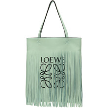 Loewe Green Paulas Ibiza Edition Vertical Fringe Tote