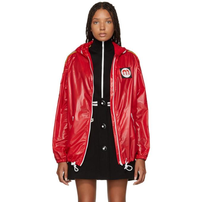 MIU MIU | Miu Miu Red Nylon Logo Patch Jacket | Clouty