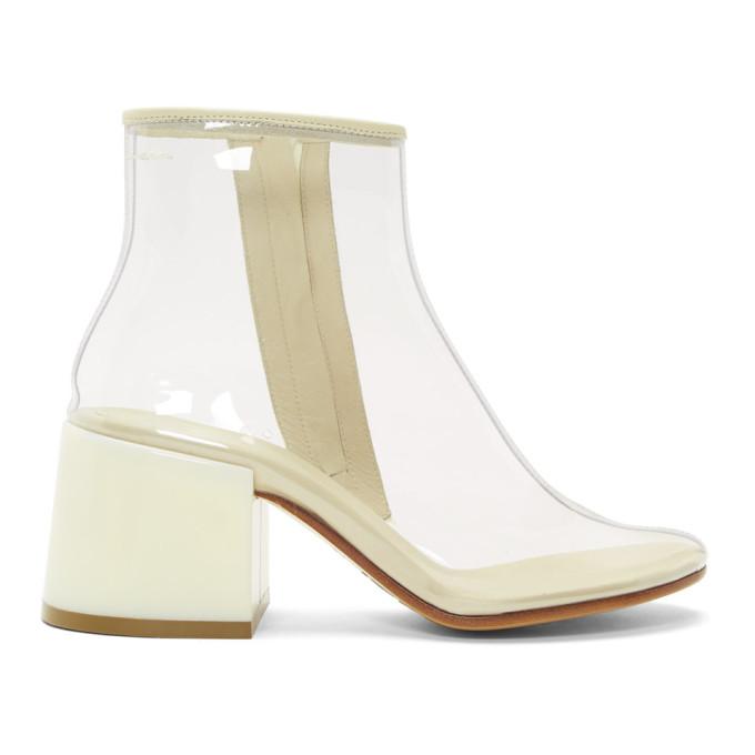 MM6 Maison Margiela | MM6 Maison Margiela SSENSE Exclusive Tranparent PVC Flare Heel Boots | Clouty