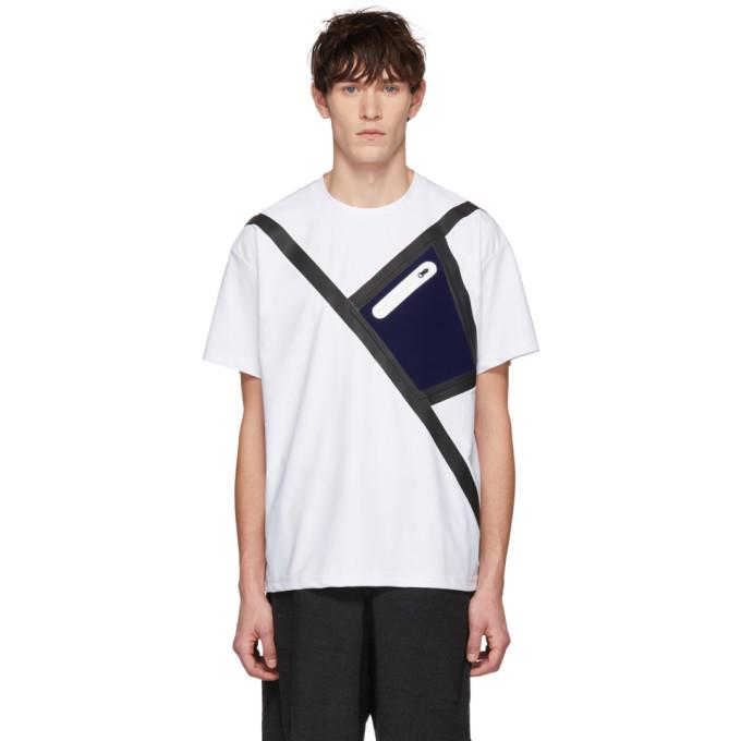 Fumito Ganryu | Fumito Ganryu SSENSE Exclusive White Neoprene Tape Pocket T-Shirt | Clouty