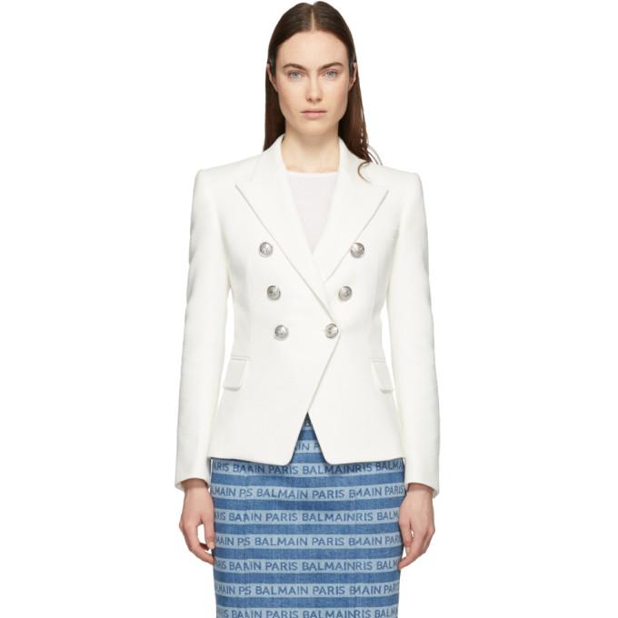 BALMAIN | Balmain White Tweed Double-Breasted Blazer | Clouty