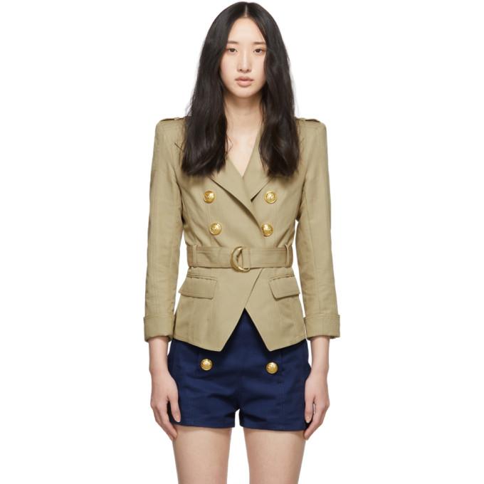 BALMAIN | Balmain Beige Cotton and Linen Blazer | Clouty