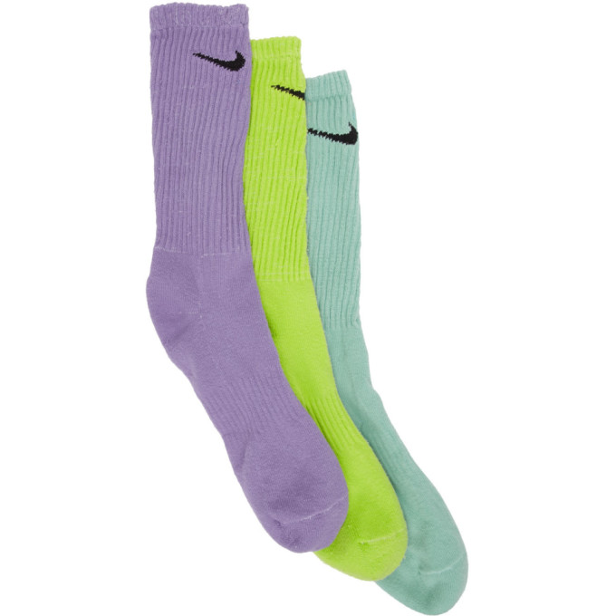 ERL | ERL Three-Pack Nike Edition Multicolor Logo Socks | Clouty
