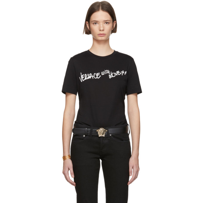 Versace | Versace Black Versace With Love T-Shirt | Clouty