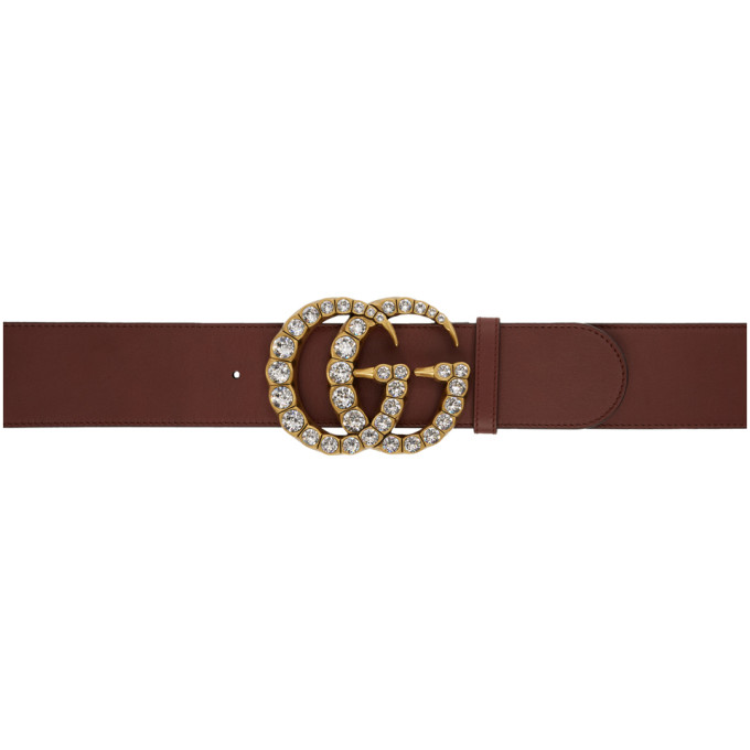 GUCCI | Gucci Burgundy Wide Leather GG Crystal Belt | Clouty