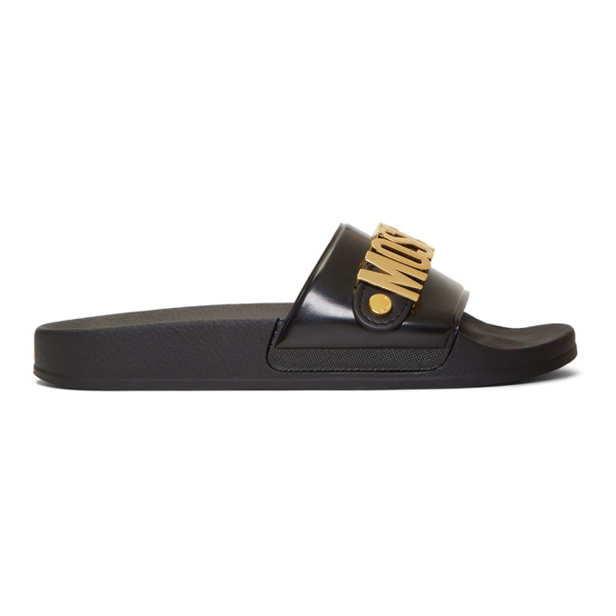 MOSCHINO | Moschino Black and Gold Logo Pool Slides | Clouty