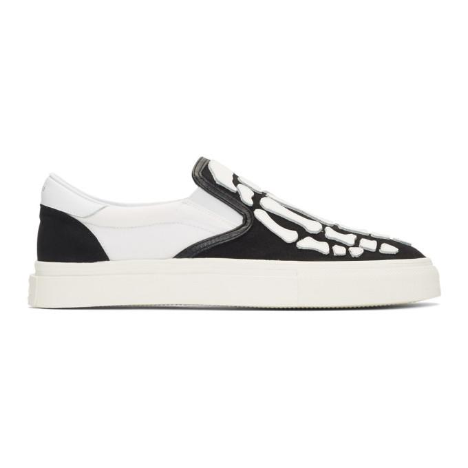 Amiri | Amiri Black and White Bones Slip-On Sneakers | Clouty