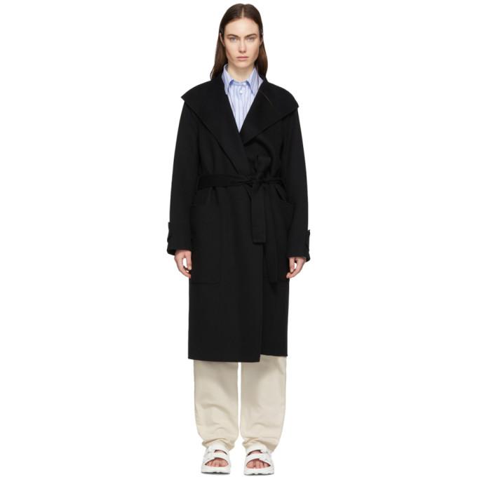 JOSEPH | Joseph Black Double Wool Gloss Lista Coat | Clouty