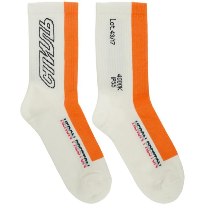 Heron Preston | Heron Preston White and Orange Style Socks | Clouty