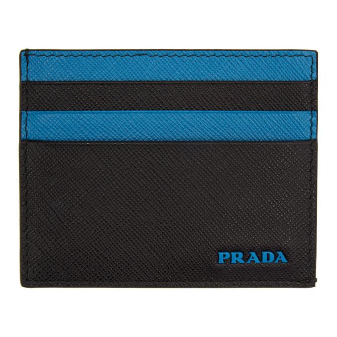 PRADA | Prada Black and Blue Logo Card Holder | Clouty