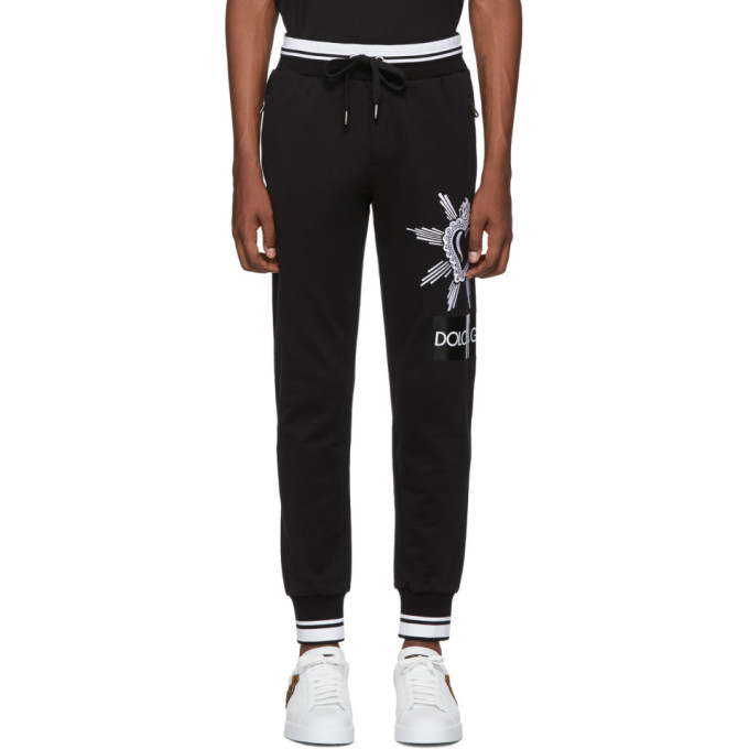 Dolce & Gabbana | Dolce and Gabbana Black Heart Lounge Pants | Clouty