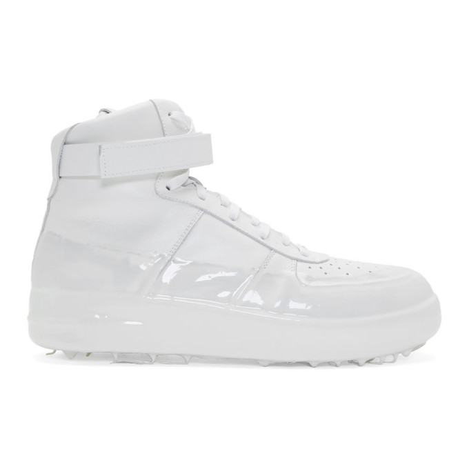 SSENSE   424 Off-White Dipped High-Top Sneakers   Clouty