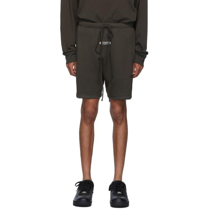 Essentials | Essentials Khaki Logo Sweat Shorts | Clouty