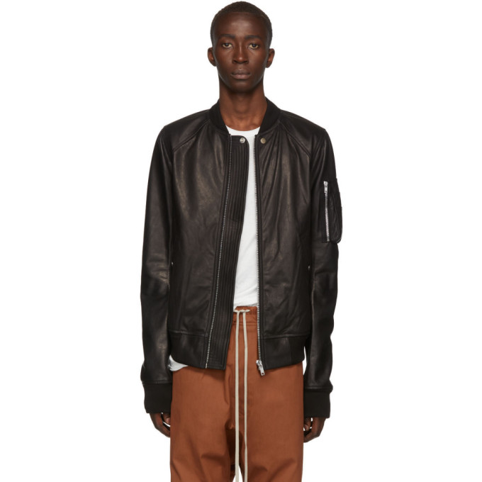 RICK OWENS | Rick Owens Black Leather Raglan Bomber Jacket | Clouty