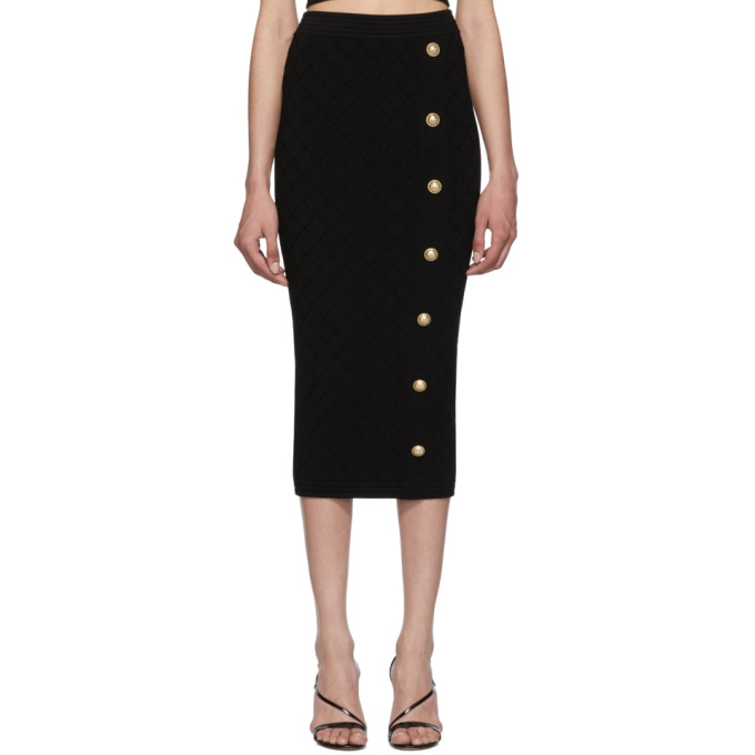 BALMAIN | Balmain Black Knit High-Waisted Skirt | Clouty