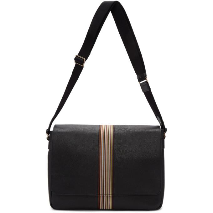 Paul Smith | Paul Smith Black Multi Stripe Messenger Bag | Clouty