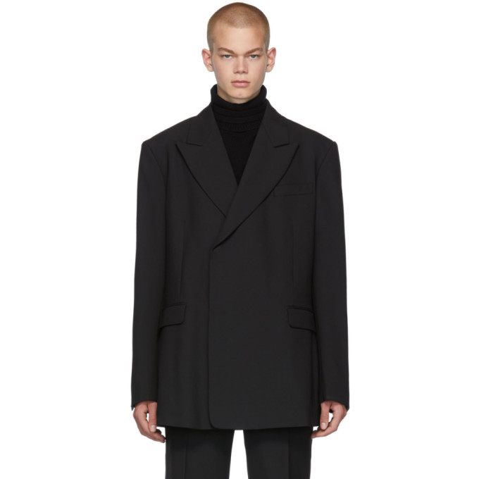 Raf Simons | Raf Simons Black Fitted Double Breasted Blazer | Clouty