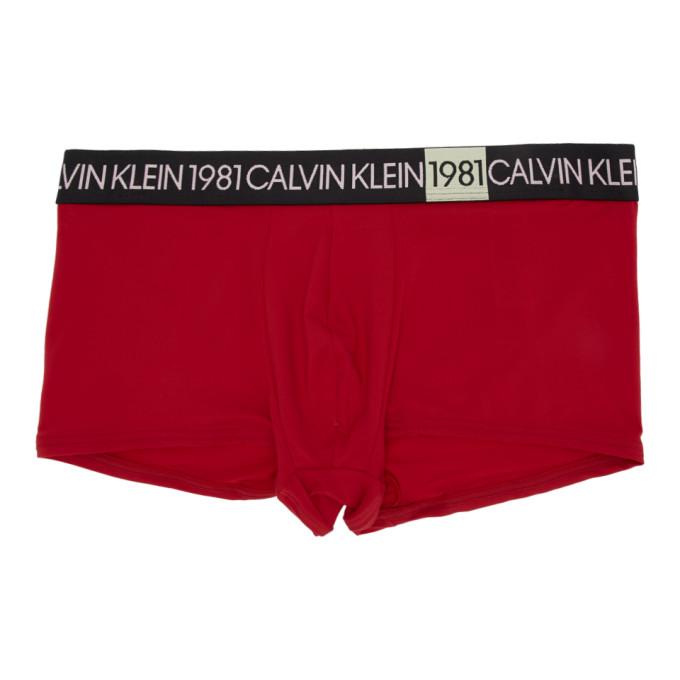 Calvin Klein   Calvin Klein Underwear Red 1981 Micro Low-Rise Boxer Briefs   Clouty