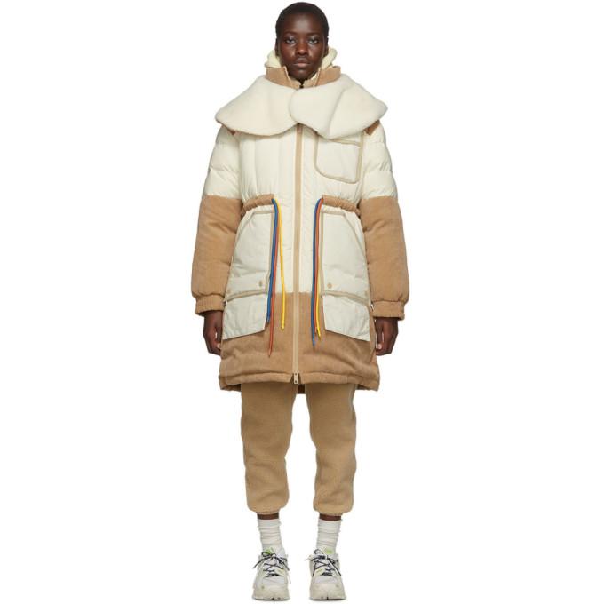 Li-Ning | Li-Ning Off-White and Beige Down Long Coat | Clouty
