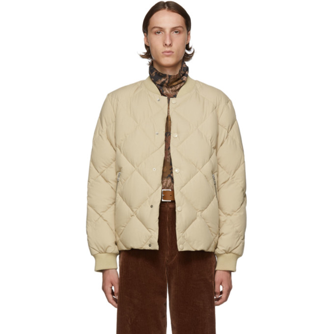 Dries Van Noten | Dries Van Noten Beige Down Bomber Jacket | Clouty