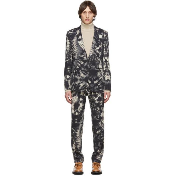 Dries Van Noten | Dries Van Noten Black Wool Tie-Dye Suit | Clouty