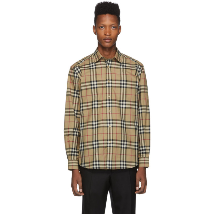 BURBERRY   Burberry Beige Check Caxton Shirt   Clouty
