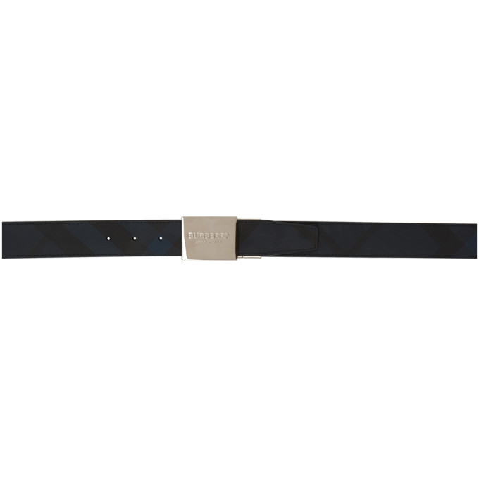 BURBERRY | Burberry Reversible Navy and Black Plaque Belt | Clouty
