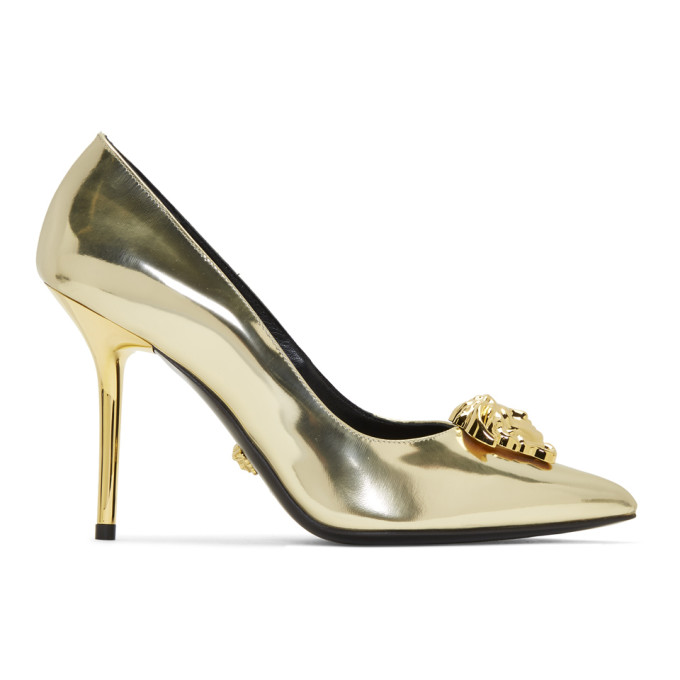 Versace | Versace Gold Palazzo Pumps | Clouty