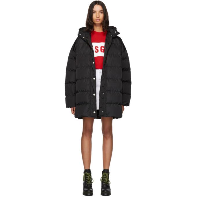 MSGM | MSGM Black Down Hooded Coat | Clouty