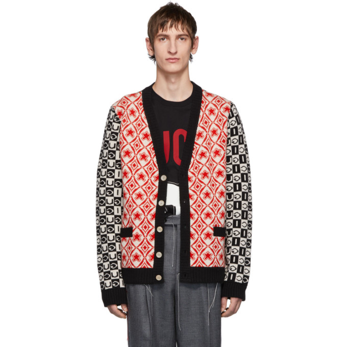 GUCCI   Gucci Red and Black Wool Jacquard Cardigan   Clouty